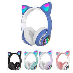 Безпровідні навушники для дівчат з котячими вушками CAT STN-28 Bluetooth гарнітура з мікрофоном (Синій)