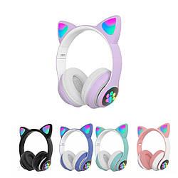 Безпровідні накладні навушники з котячими вушками CAT STN-28 Bluetooth гарнітура з мікрофоном (Фіолетовий)