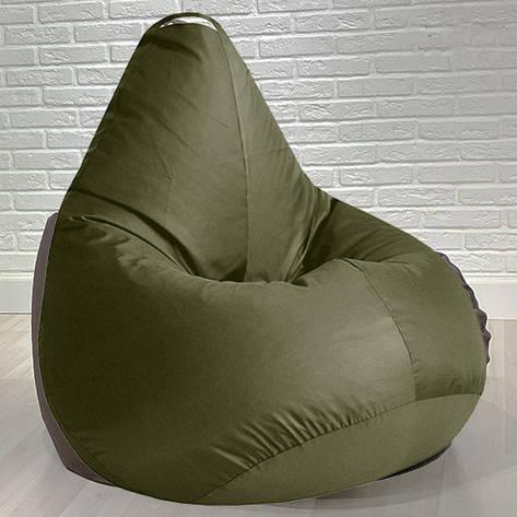 Бескаркасное кресло мешок груша для детей и взрослых Kospa хаки 85х65, фото 2