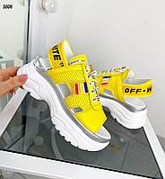 Жіночі шкіряні кросівки літні-босоніжки 36-41 р жовтий, фото 1
