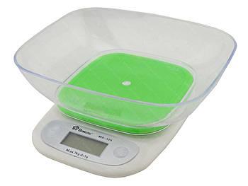 Електронні кухонні ваги з чашею на 7 кг Domotec MS-125 Green (5260)