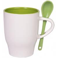 """Чашка с ложкой """"Модена"""" зеленая внутри"""
