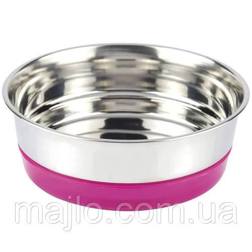 Металева Миска Fluo Croci рожева для собак і кішок на резинці 0,47 л