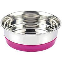 Миска металлическая Fluo Croci розовая для собак и кошек на резинке 0,47 л