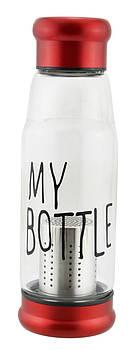 Скляна пляшка My Bottle 420 мл з ситечком для заварки Червоний