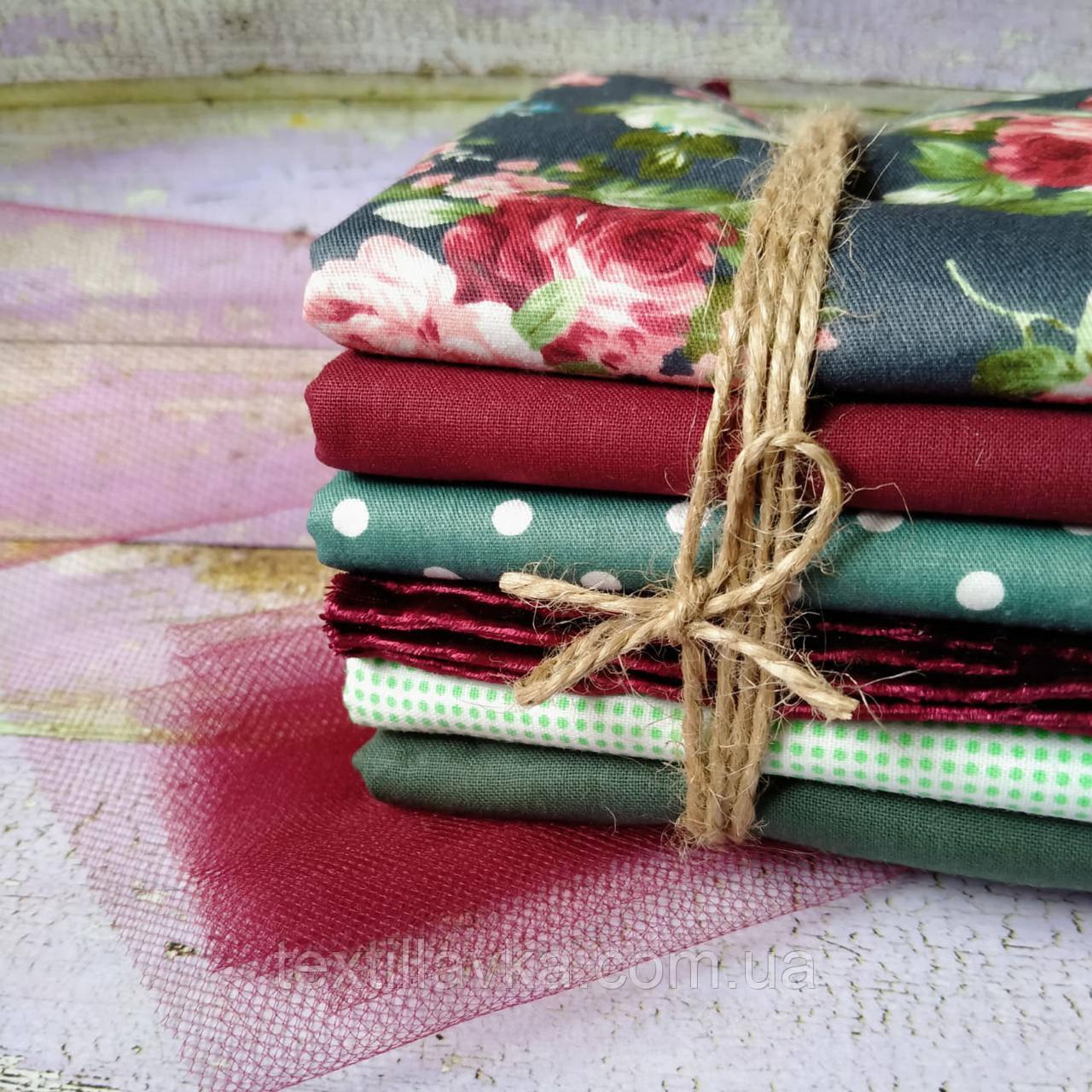 Набір тканини для рукоділля 6шт. з оксамитом