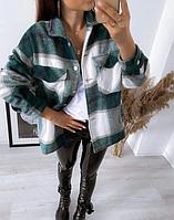 Жіноча сорочка накидка у велику клітку, фото 1