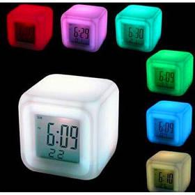 Светящиеся часы будильник термометр ночник хамелеон