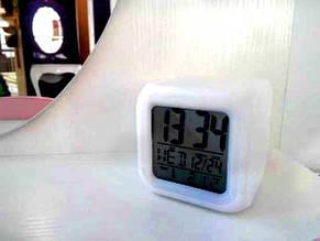 Світяться годинник будильник термометр нічник хамелеон, фото 2