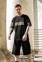 Спортивный мужской костюм шорты и футболка на лето из трикотажа