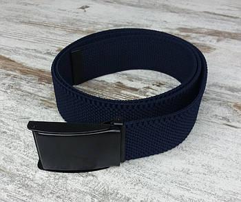 Ремінь джинсовий резинка з пряжкою затискач 40 мм синій, оригінальний модний ремінь текстильний1