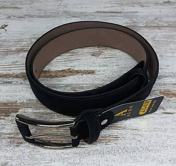 Якісний чоловічий ремінь замша 35 мм чорний, міцний оригінальний модний ремінь із замінника1