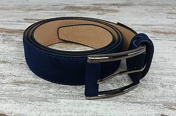 Якісний чоловічий ремінь замша 35 мм синій, міцний оригінальний модний ремінь із замінника1
