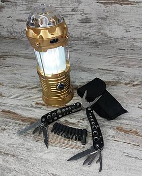 LED лампа з ефектом вогню і дискошаром в комплекті з багатофункціональним ножем мультитул-плоскогубці