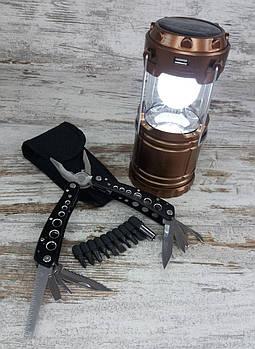 Багатофункціональний ніж мультитул-плоскогубці (726120) в комплекті з кемпинговым складним ліхтарем G-851