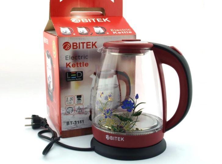 BITEK електрочайник скляний 1,8 л 2400Вт з квіткою