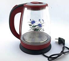 BITEK електрочайник скляний 1,8 л 2400Вт з квіткою, фото 3