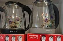 BITEK электрочайник стеклянный 1,8л 2400Вт с цветком, фото 3