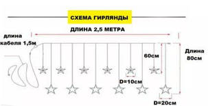 """Светодиодная гирлянда """"ЗВЕЗДОПАД"""" 2.5м 138LED 12 ЦВЕТНЫХ звезд, фото 2"""