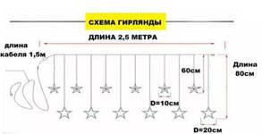 """Світлодіодна гірлянда """"ЗОРЕПАД"""" 2.5 м 138LED МІСЯЦЬ ТА ЗІРКИ, фото 2"""