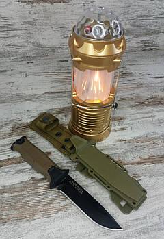 LED лампа з ефектом вогню і дискошаром SX-6888T в комплекті з мисливським ножем Gerber АК-2071