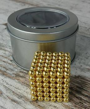 Неокуб Neocube золотий 216 кульок в металевому боксі. Магнітний конструктор антистрес неокуб.1