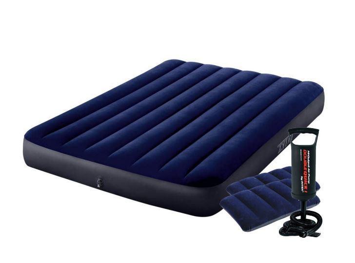 Надувний матрац 152см Intex з двома подушками і ручним насосом