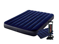 Надувний матрац 137 см Іntex з двома подушками і ручним насосом, фото 2