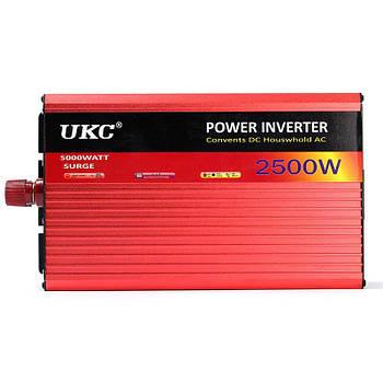 Перетворювач авто інвертор UKC 12V-220V AR 2500W c функції плавного пуску + USB (3052)