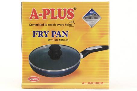 Сковорідка A-plus 22 см з кришкою, тефлонове покриття, фото 2
