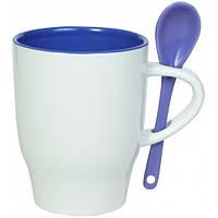 """Чашка с ложкой """"Модена"""" синяя внутри"""