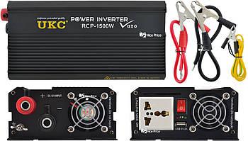 Професійний інвертор перетворювач UKC 12V-220V RCP-1500W + USB Black (4145)