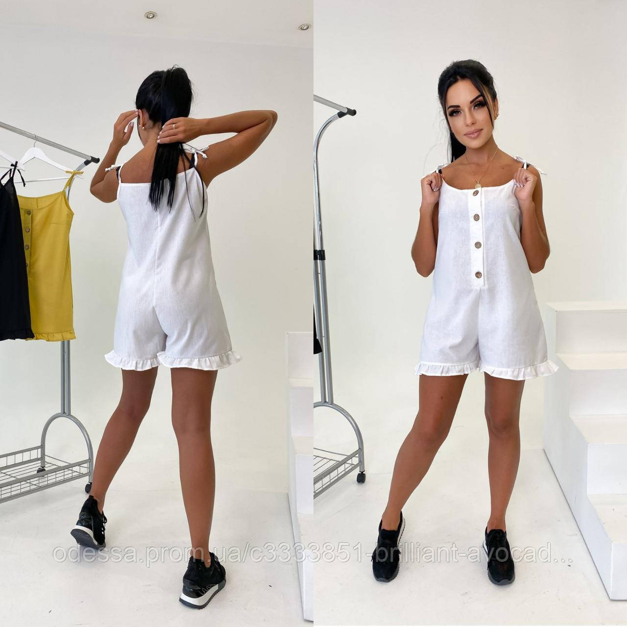 Жіночий модний лляної комбінезон з шортами