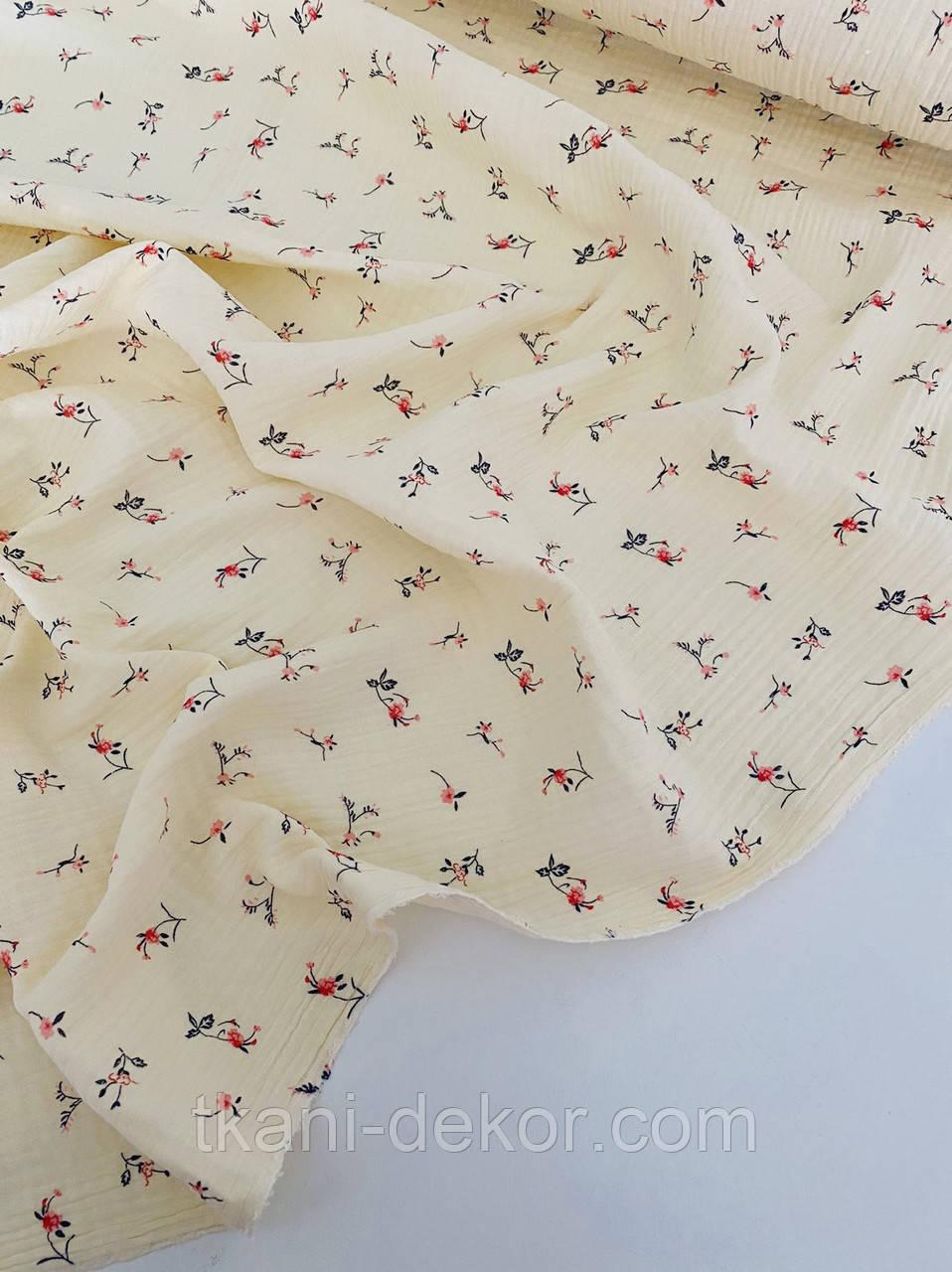 Муслін (бавовняна тканина) ірис на ванільному