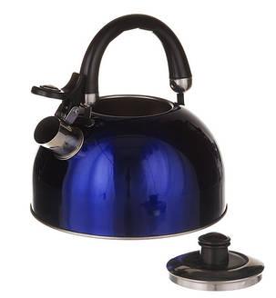 Чайник зі свистком подвійне дно, 2,5 л. А-Плюс синій, фото 2