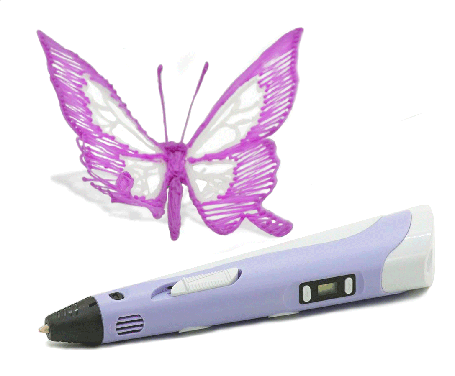 3Д ручка з LCD дисплеєм Smart pen 3D-2 фіолетова, фото 2