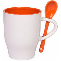 """Чашка с ложкой """"Модена"""" оранжевый внутри"""