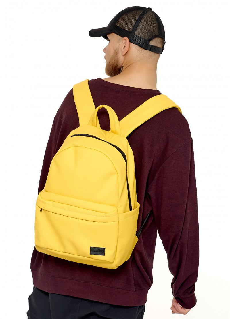 Рюкзак мужской желтый повседневный, городской, для ноутбука 15, 6 из матовой эко-кожи (качественный кожзам)