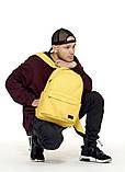 Рюкзак мужской желтый повседневный, городской, для ноутбука 15, 6 из матовой эко-кожи (качественный кожзам), фото 5