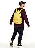 Рюкзак мужской желтый повседневный, городской, для ноутбука 15, 6 из матовой эко-кожи (качественный кожзам), фото 10