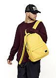 Рюкзак мужской желтый повседневный, городской, для ноутбука 15, 6 из матовой эко-кожи (качественный кожзам), фото 4
