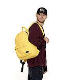 Рюкзак мужской желтый повседневный, городской, для ноутбука 15, 6 из матовой эко-кожи (качественный кожзам), фото 7