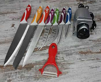 Електрична точилка для заточування ножів Sharpener electric в комплекті з набором кухонних ножів 8 предметів1