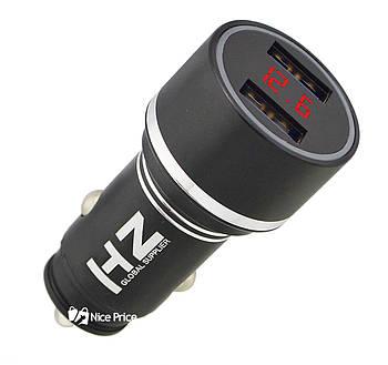 Автомобільна USB зарядка від прикурювача HZ HC7 3.1 A з екраном Black (6873)