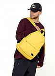 Рюкзак мужской желтый повседневный, городской, для ноутбука 15, 6 из матовой эко-кожи (качественный кожзам), фото 6