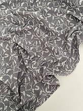 Муслин (хлопковая ткань) колосок на сером