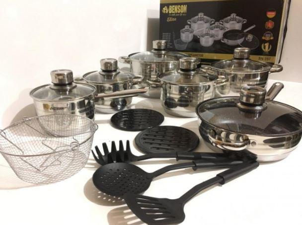 Набір посуду Benson BN-197 з кришками 18 предметів