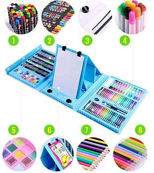Дитячий набір для творчості і малювання 208 предметів (blue)