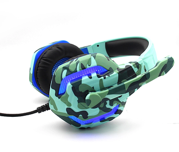 Світлодіодні комп'ютерні ігрові навушники з мікрофоном KOMC G312 / Високоякісні дротові навушники