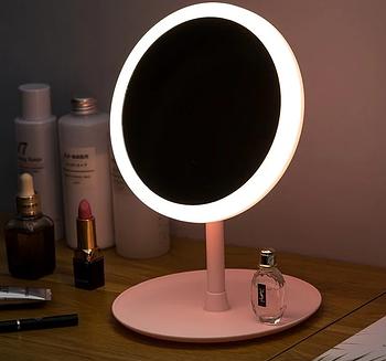 Настільне дзеркало з LED підсвічуванням для макіяжу кругле (W8)